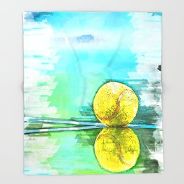 Tennis Ball On Court Reflection. For Tennis Lovers Throw Blanket