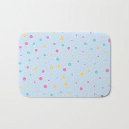 Multicolour Polka Dots on Blue Background Bath Mat