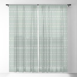 Zoe Painted Dot Stripe Pattern in Light Vintage Celadon Blue and Cream Sheer Curtain