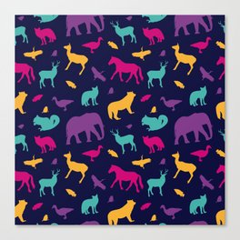Colorful Wild Animal Silhouette Pattern Canvas Print