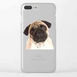 Cute Pug Face Funny Gift For Dog Lovers Clear iPhone Case