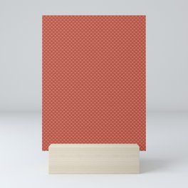 Pantone Living Coral Small Scallop, Wave Pattern Mini Art Print