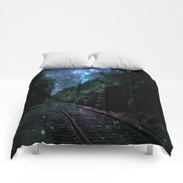 Train Tracks : Next Stop Anywhere Blue Side View Comforters