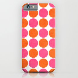 orange and hot pink dots iPhone Case