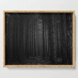 The Dense & Foggy Forest (Black and White) Serving Tray