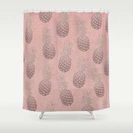Precious Pineapple Pattern Rose Gold Shower Curtain