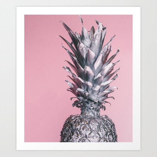 Silver and pink tropical pineapple Art Print