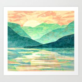 Spring Sunset over Emerald Mountain Landscape Painting Art Print