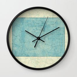 Colorado State Map Blue Vintage Wall Clock