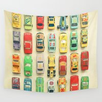 cars Wall Tapestries featuring Car Park by Cassia Beck