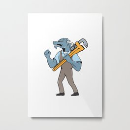 Dragon Plumber Monkey Wrench Fist Pump Isolated Metal Print