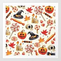 halloween Art Prints featuring halloween by Ceren Aksu Dikenci