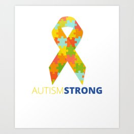 Autism Strong Ribbon Puzzle Piece Support Art Print