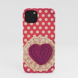 Red Crochet Heart iPhone Case