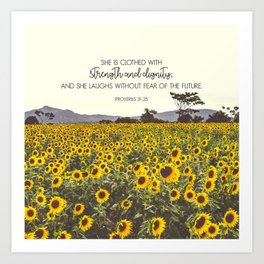 Proverbs and Sunflowers Art Print