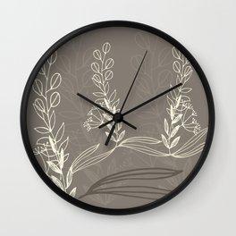 Line Art Etched Botanicals  Wall Clock