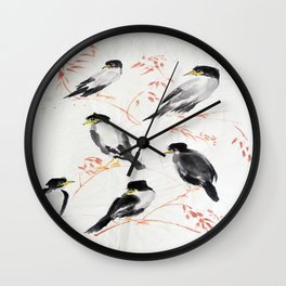 A school of magpies Wall Clock