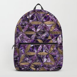 Flower of life pattern - Amethyst and Gold Backpack