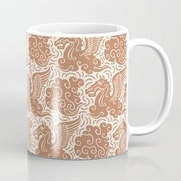 Pegasus Pattern Beige Brown Coffee Mug