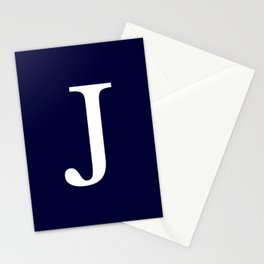 Navy Blue Basic Monogram J Stationery Cards