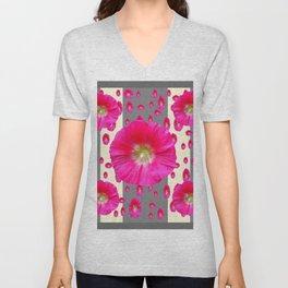 PINK-CERISE HOLLYHOCK FLOWERS  CREAM & GREY GARDEN Unisex V-Neck