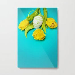 Spring Yellow Tulips and Easter Egg Metal Print