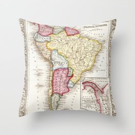 south america old map Throw Pillow