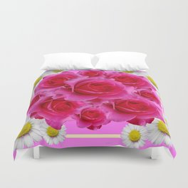 Purple Fuchsia Rose & Daisy  Flowers Art Design Abstract Duvet Cover