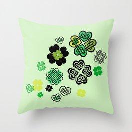 Celtic Love Knot Clovers Throw Pillow
