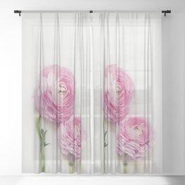 Pink Peonies 2 Sheer Curtain
