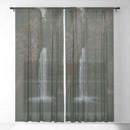 Wahclella Falls x Oregon Waterfall Sheer Curtain