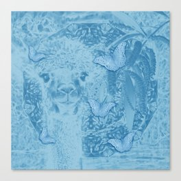 Ghostly alpaca with butterflies in snorkel blue Canvas Print