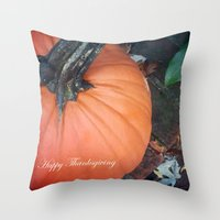 thanksgiving Throw Pillows featuring Happy Thanksgiving! by Colleen G. Drew