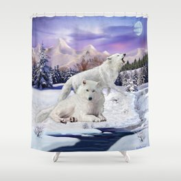 Snow Wolves of the Wilderness Shower Curtain