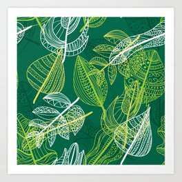 Lovely green leaves pattern illustration Art Print