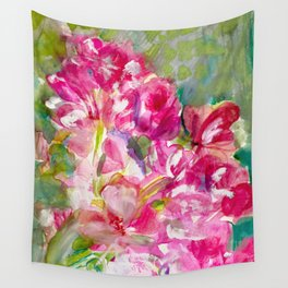 My Magical Pink Floral Romance Wall Tapestry