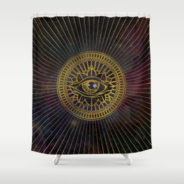 All Seeing Mystic Eye Gold on Nebula Sky Shower Curtain