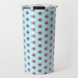 Pink and burgundy flowers on blue Travel Mug