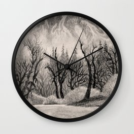 SKAGIT RIVER IN THE NORTH CASCADE CHARCOAL DRAWING Wall Clock