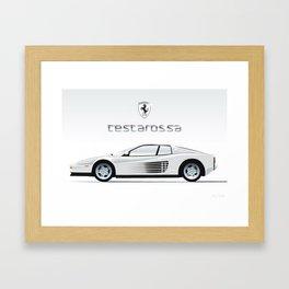 Cocaine-white, 1980's Ferrari Testarossa Illustration Framed Art Print