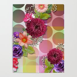 Flowers, Circles, & Colorful Abstract Poster