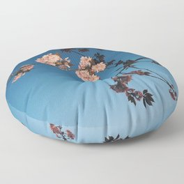 WHITE - CHERRY - BLOSSOM - TREE - UNDER - BLUE - SKY - PHOTOGRAPHY Floor Pillow