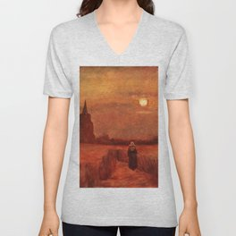 The Old Tower in the Fields by Vincent van Gogh Unisex V-Neck