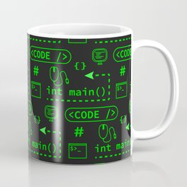 Love of Software Pattern - Green and Black Coffee Mug