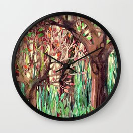 Lost in the Forest - watercolor painting collage Wall Clock