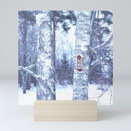 Red Bird House in Winter White Scene #decor #society6 #buyart Mini Art Print