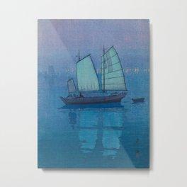 Sailing Boats, Night (Hansen, Yoru) Hiroshi Yoshida Vintage Japanese Woodblock Print Metal Print