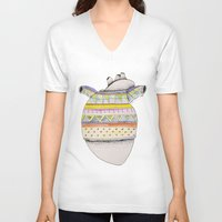 sweater V-neck T-shirts featuring Heart-sweater by Adele Manuti