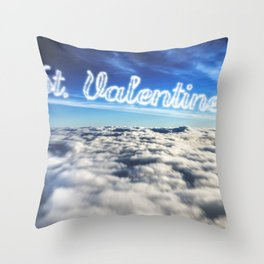 st. valentine text on clouds Throw Pillow