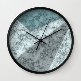 Combined abstract pattern .Green marble . Wall Clock